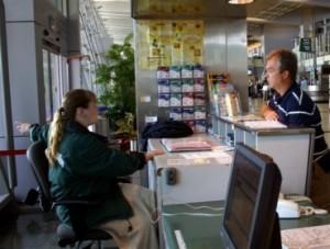 A Travelers Aid Volunteer Hard at Work